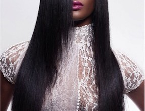Dommie Cole hair model with long black hair
