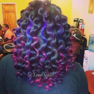 Wand Curls with multiple colors (i.e. pink and purple)