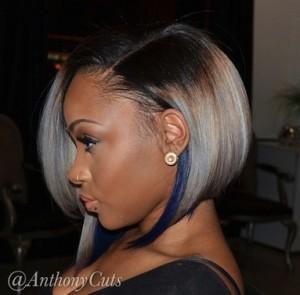 Grey to blue ombre' bob cut