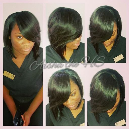 Deep Side Part Sew In with Razor Cut