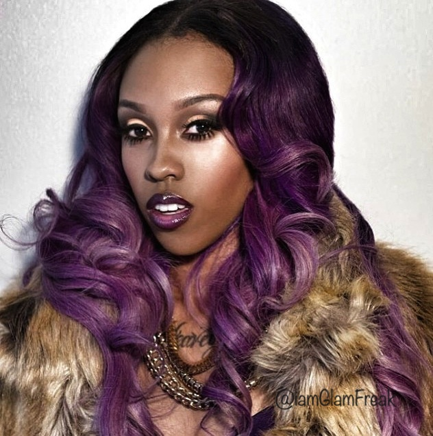 Purple ombre hair color on Glam Freak