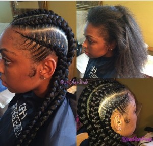 GlamFreak Cornrows Before and After Picture