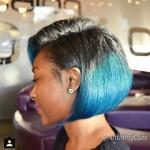 Natural Hair Bob Cut with Blue Custom Color at the tips