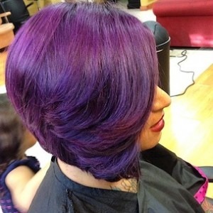 Purple Hair Bob Cut