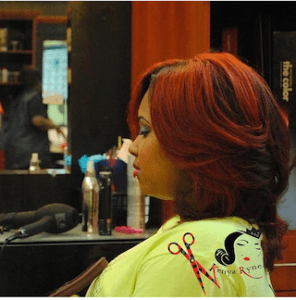 Red colored hair with layers