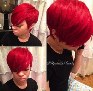 Bright Red Pixie Cut Quick weave