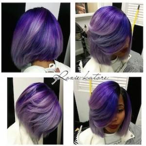 Purple and Grey ombre colored bob cut
