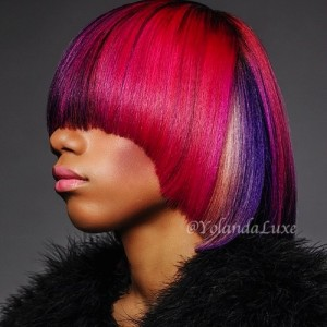 Multi colored bob cut with pink & purple hair