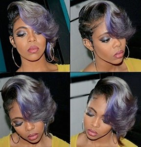 Purple And Grey Baylage Ombre Pixie Cut