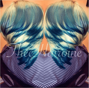 Custom colored sew in bob with green, blue on top and grey and platinum underneath