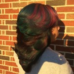 Custom Hair Color with Green and Purpler and Red Hiighlights