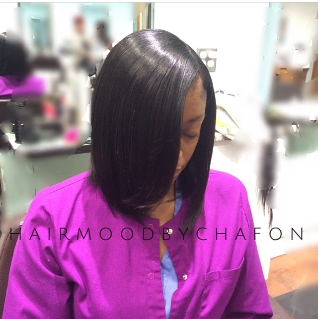 Silky natural hair bob styled by Lillie D'Or stylist Chafon Campbell