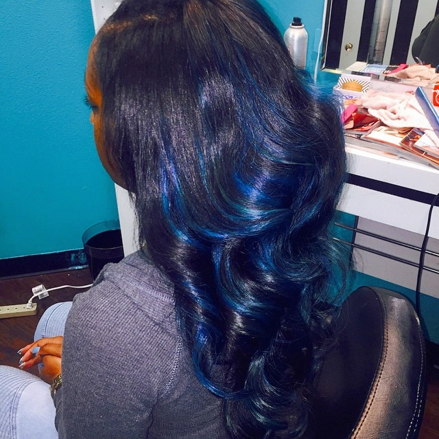Sew In With Blue Highlights Voice Of Hair