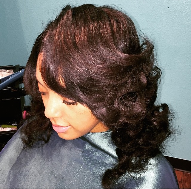 Sew In with curls and ombre