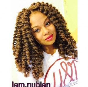 Sandy brown crochet braids with invisible knots
