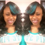Sew in with lace closure and deep side part and custom color (green streaks in hair)