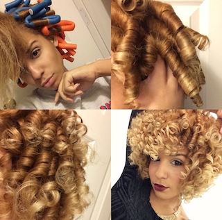 Picture tutorial of how to set flexirods and then fluff curls