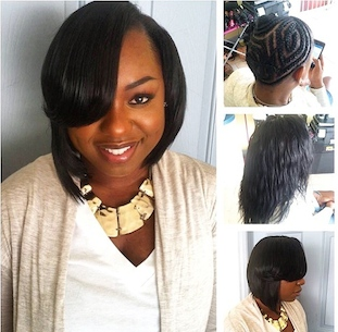 Sew In Bob Cut with Side Bang