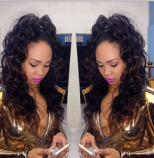 Sew in with curls in high ponytail