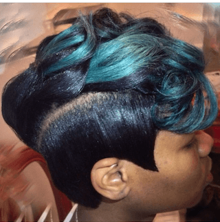 Pixie Cut with Green Highlights in bangs