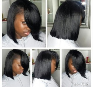 Full Natural Sew-In with blunt bob cut and deep side part