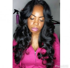 Full Natural Sew-In with long hair and curls