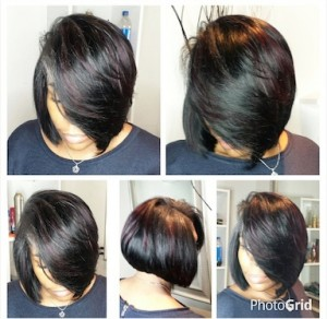 Quickweave bob cut with light layers