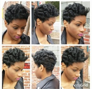 Short Hair Cut with Curls and flipped up bang