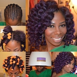 Crochet Braid Pictorial Installation with Purple Braids