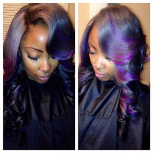 Purple And Grey Ombre Sew In Install