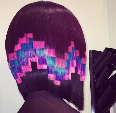 Pixelated puzzle cut bob with pink, purple and blue hair