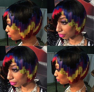 Pixelated hair color with rainbow colors