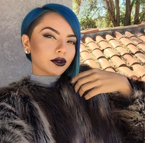 Blue Hair with Tapered Right Side