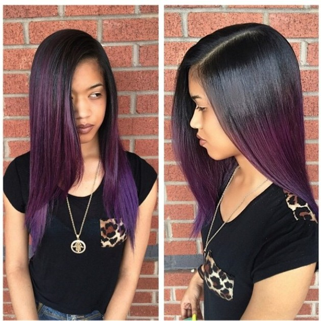 Purple Hair Long Hair with Ombre