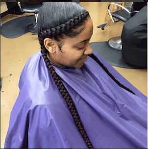 Long french braid on black woman