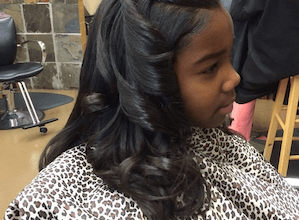 Little Girl With Long Hair and silk press