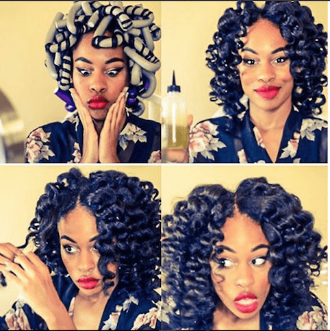how to style relaxed hair without heat amazing curls with flexi rods 4609