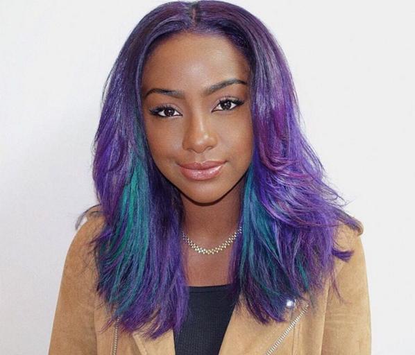 Justine Skye with Purple Hair