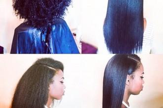 Silk Press Transformation on Natural Hair