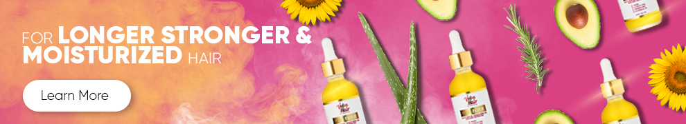 Website banner to promote with pink and orange sunset color background to provide more detail about the VoiceOfHair Elixir