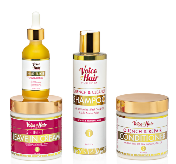 Nourish & Grow Collection of Haircare products including hair shampoo, conditioner, leave in cream and oil.